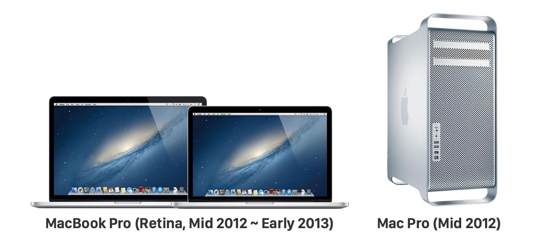 MacBook Pro (Retina, Mid 2012)とMac Pro (Mid 2012)