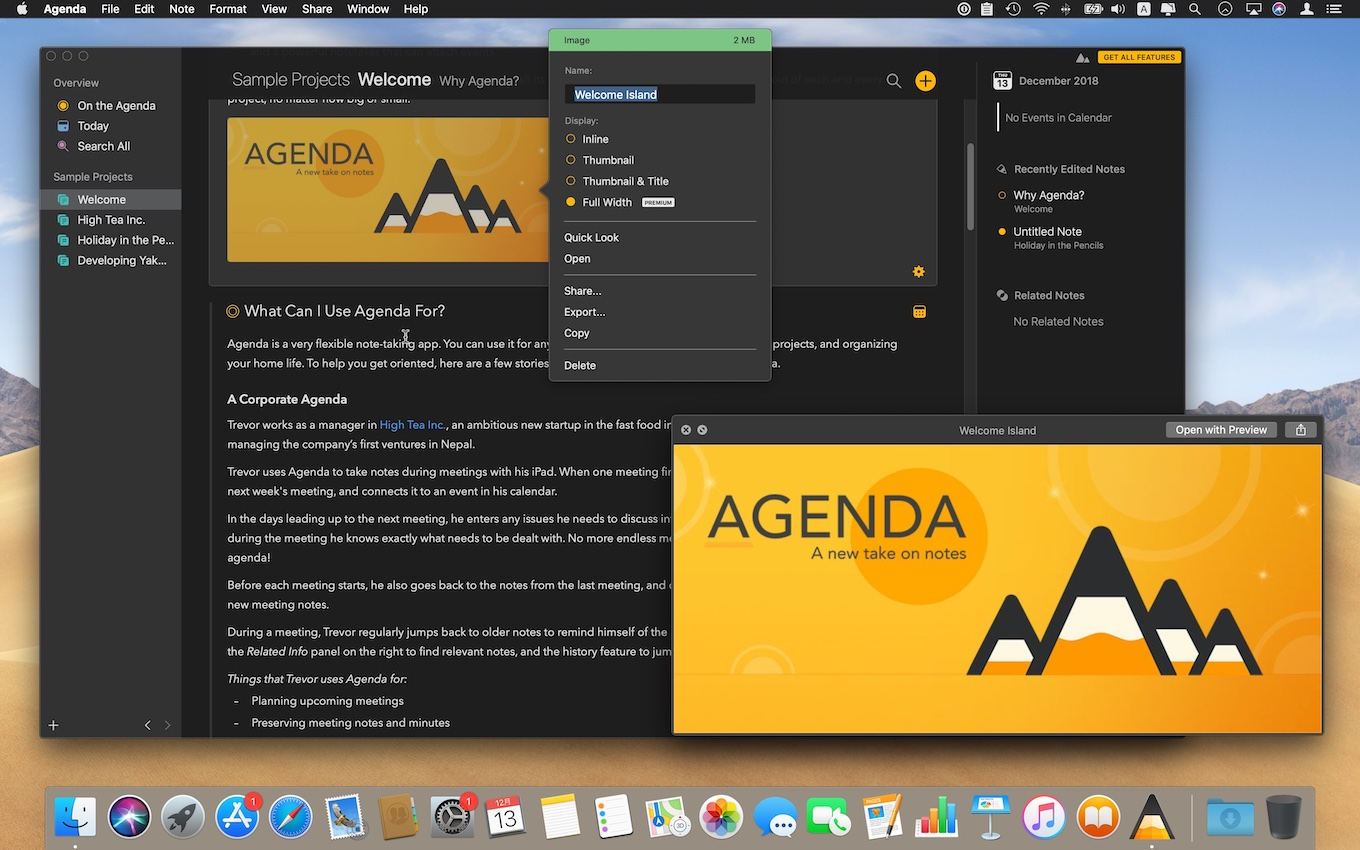 Agenda v4.0 for Macの添付ファイルQuick Look