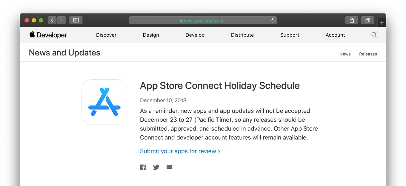 App Store Connect Holiday Schedule