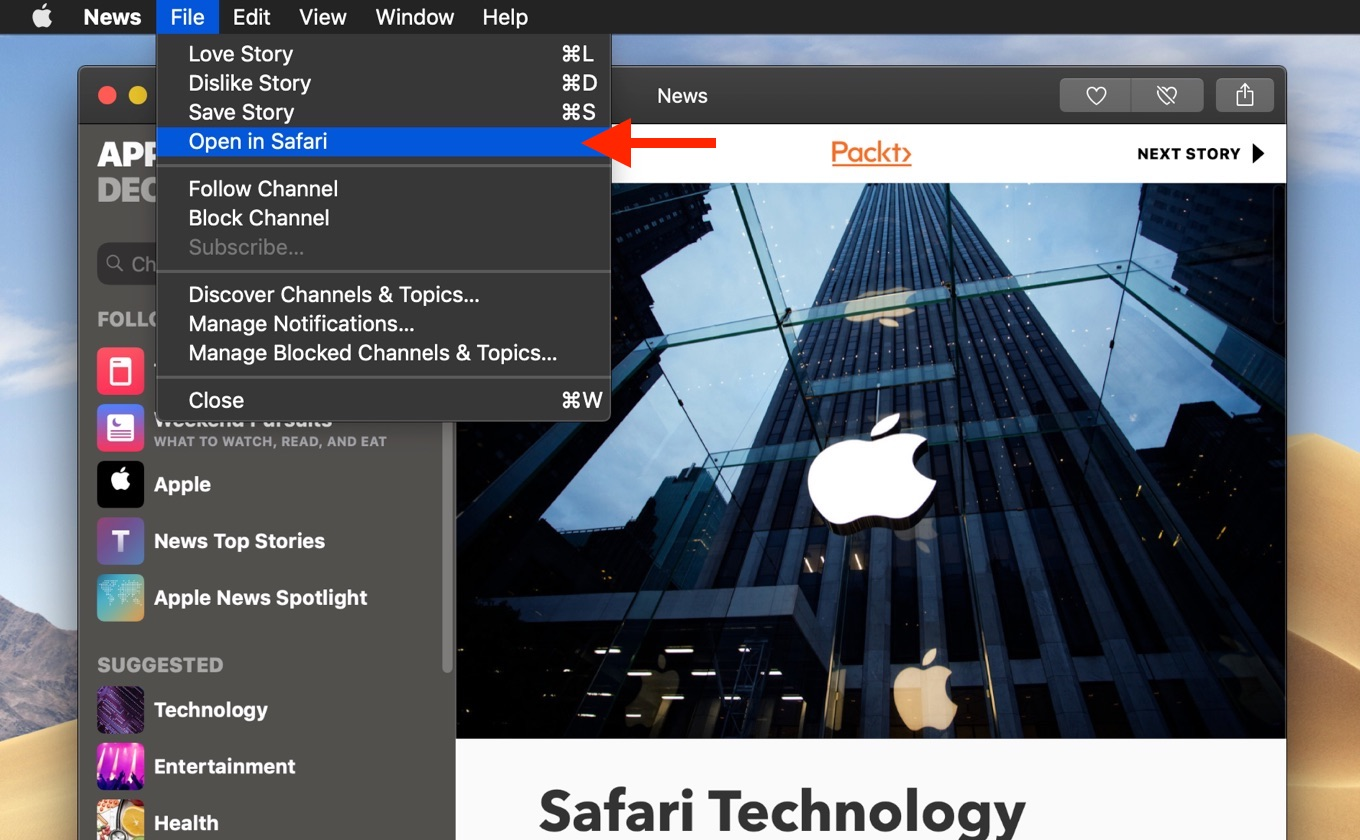 News app Open in Safari