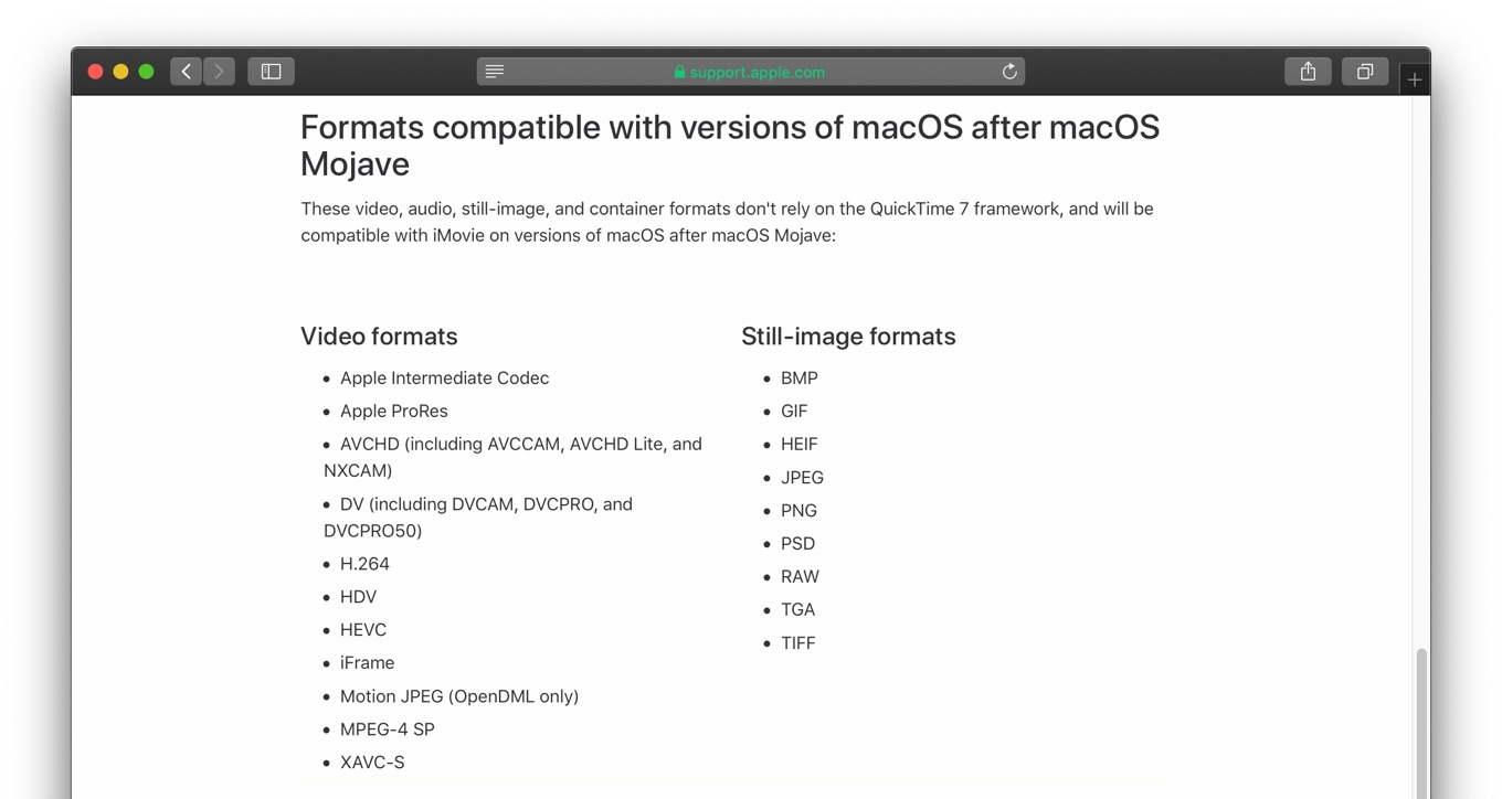 Formats compatible with versions of macOS after macOS Mojave