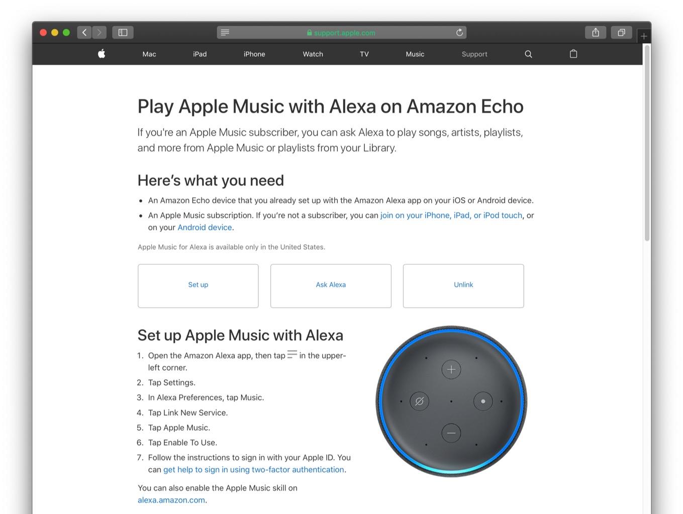 Play Apple Music with Alexa on Amazon Echo