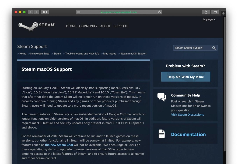 SteamがOS X 10.10 Yosemiteのサポートを終了