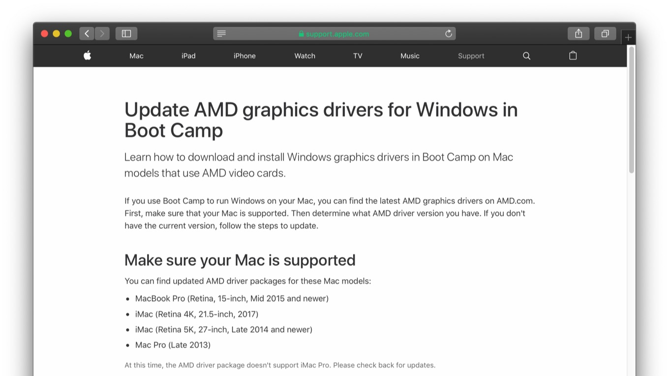 Update AMD graphics drivers for Windows in Boot Camp