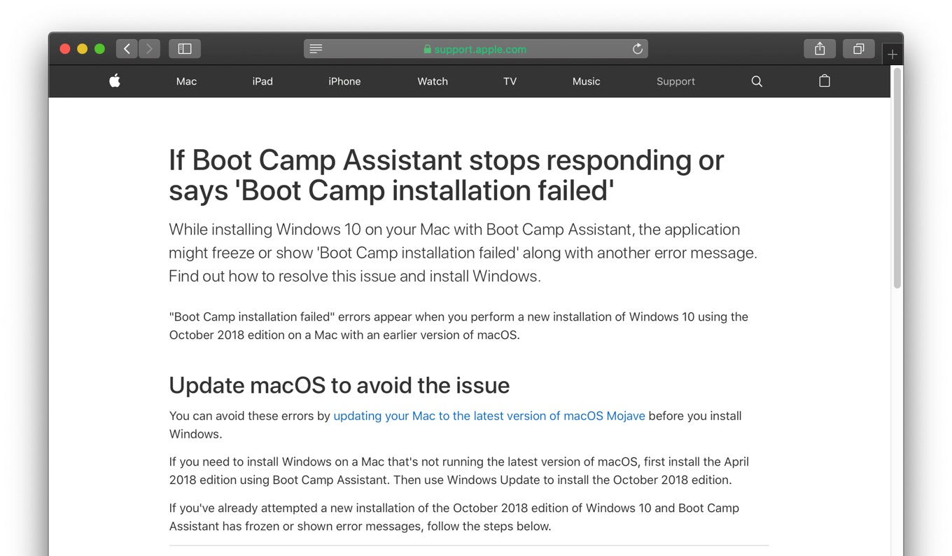 Boot Camp AssistantとWindows 10 October 2018 Updateの互換性
