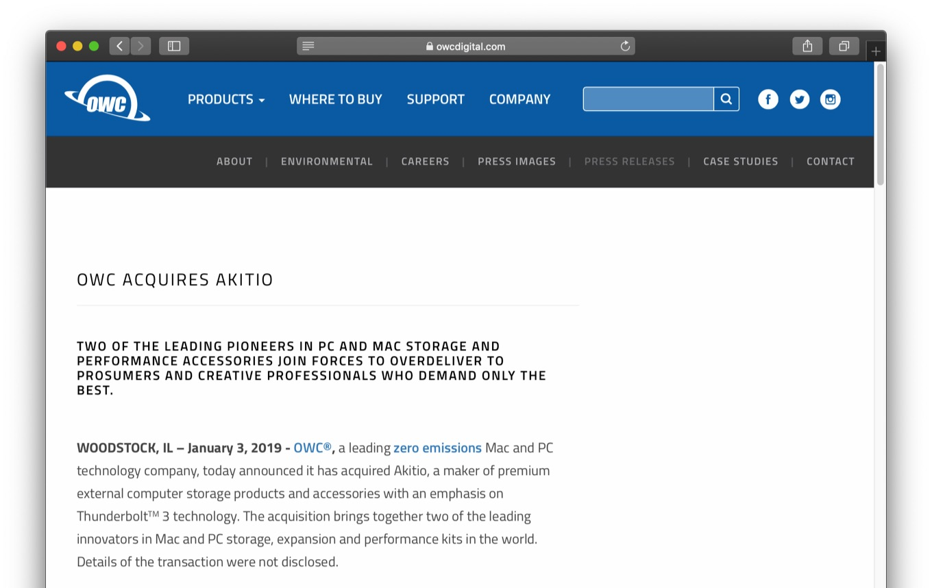 OWC ACQUIRES AKITIO