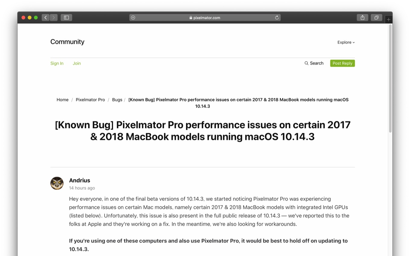 Pixelmator Pro performance issues on certain 2017 & 2018 MacBook models running macOS 10.14.3