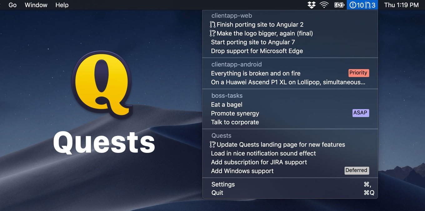 Quests puts your issues and pull requests from Github.com and Gitlab.com