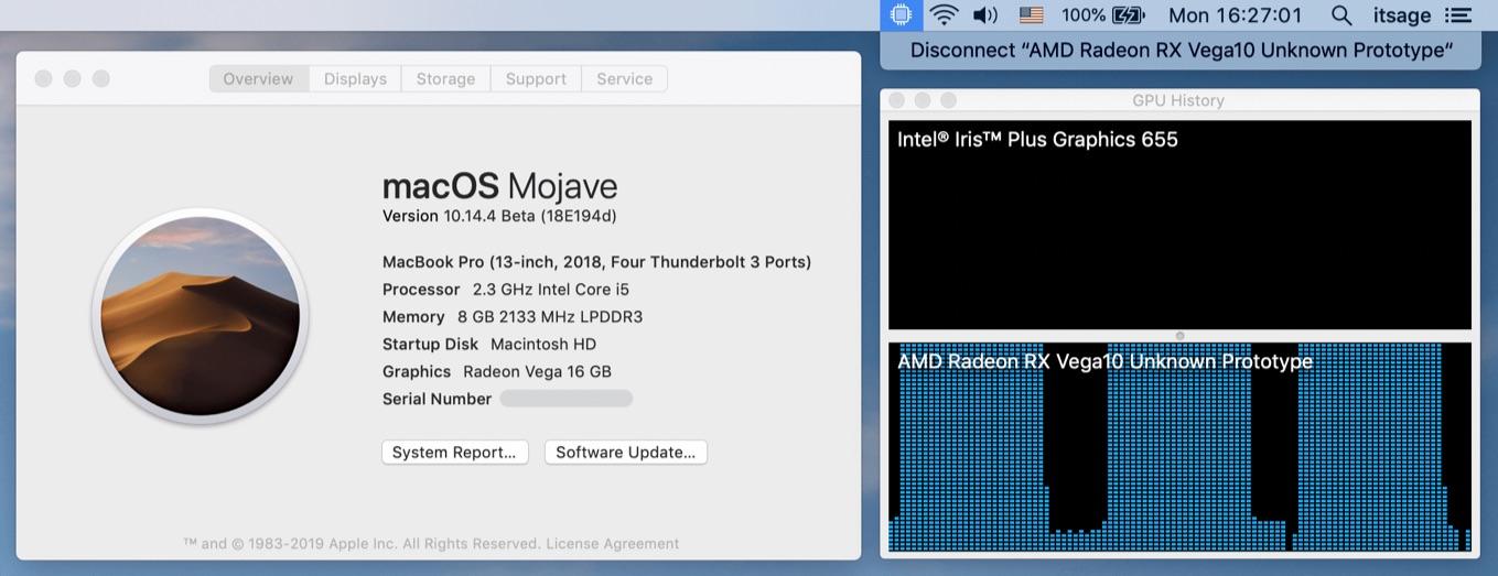 macOS Mojave 10.14.4 BetaでRadeon VIIがサポート
