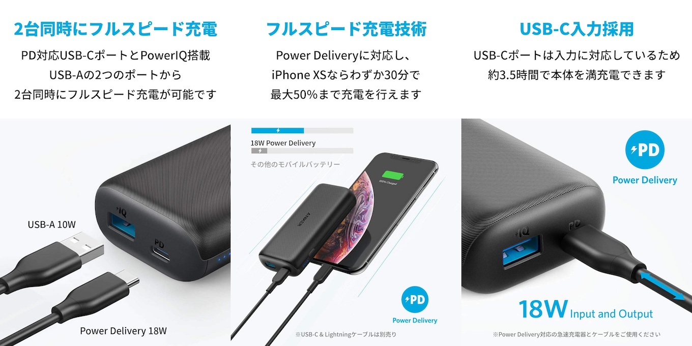 Anker PowerCore 10000 PDの機能