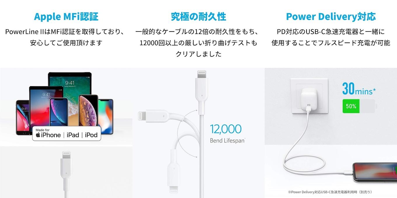 PowerLine II USB-C & ライトニング ケーブル