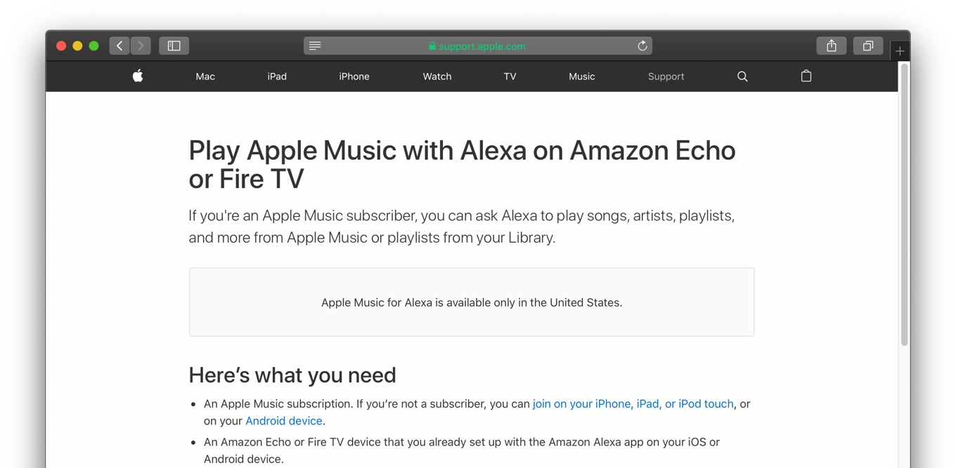 Play Apple Music with Alexa on Amazon Echo or Fire TV