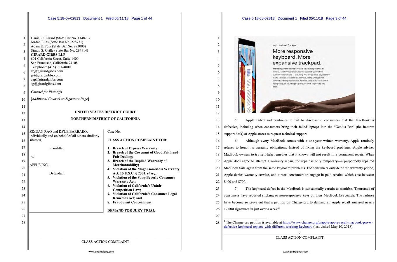 MacBook Proキーボードの集団訴訟