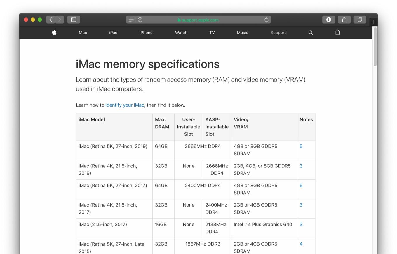 iMac (Retina 5K, 27-inch, 2019)メモリ仕様