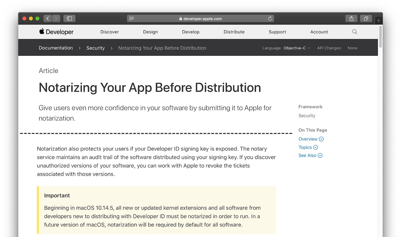 Notarizing Your App Before Distribution after macOS 10.14.5