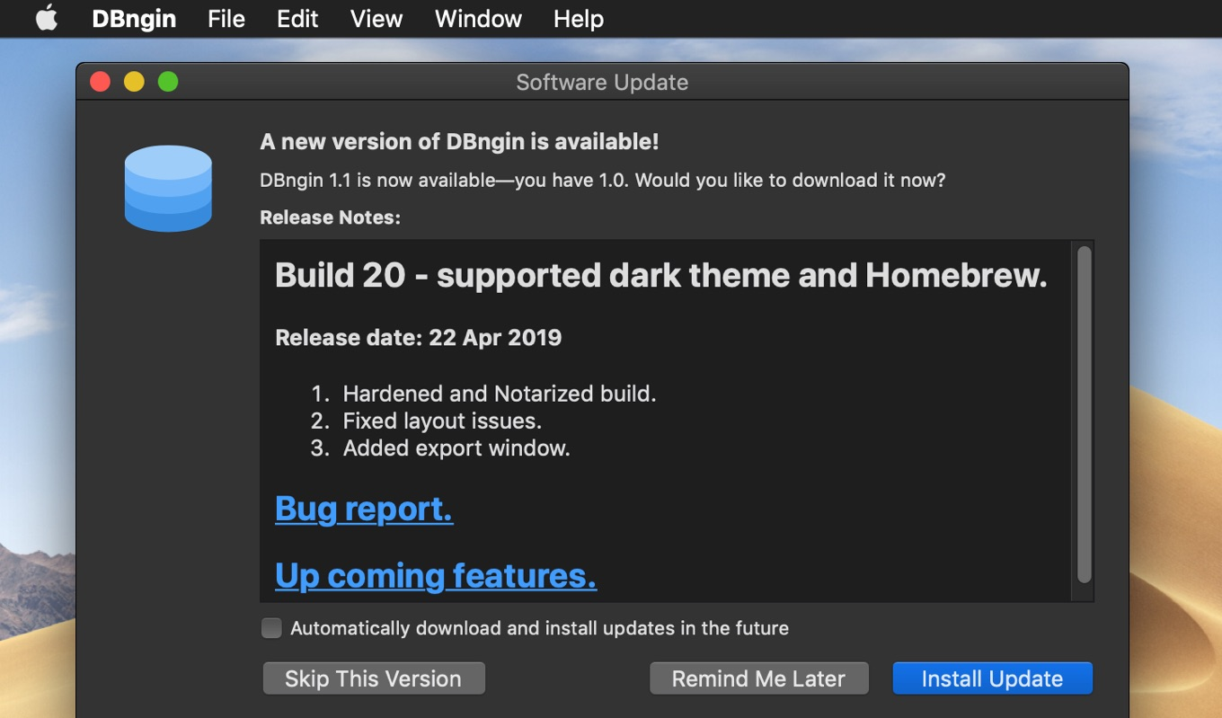 Build 20 - Bug fixes Release date: 22 Apr 2019.