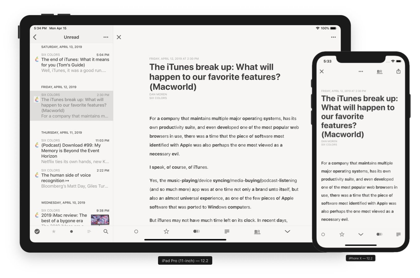 Reeder v4 for iOS Beta 11