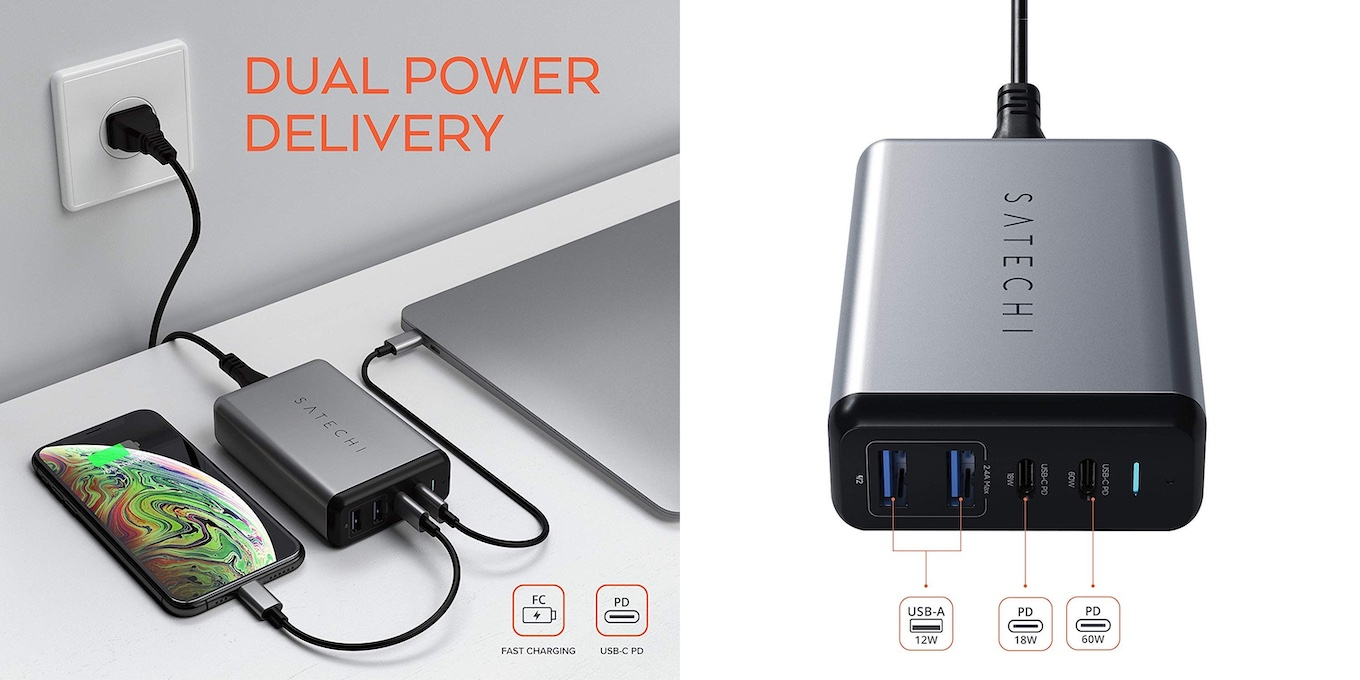 Satechi 75W DUAL TYPE-C PD TRAVEL CHARGER