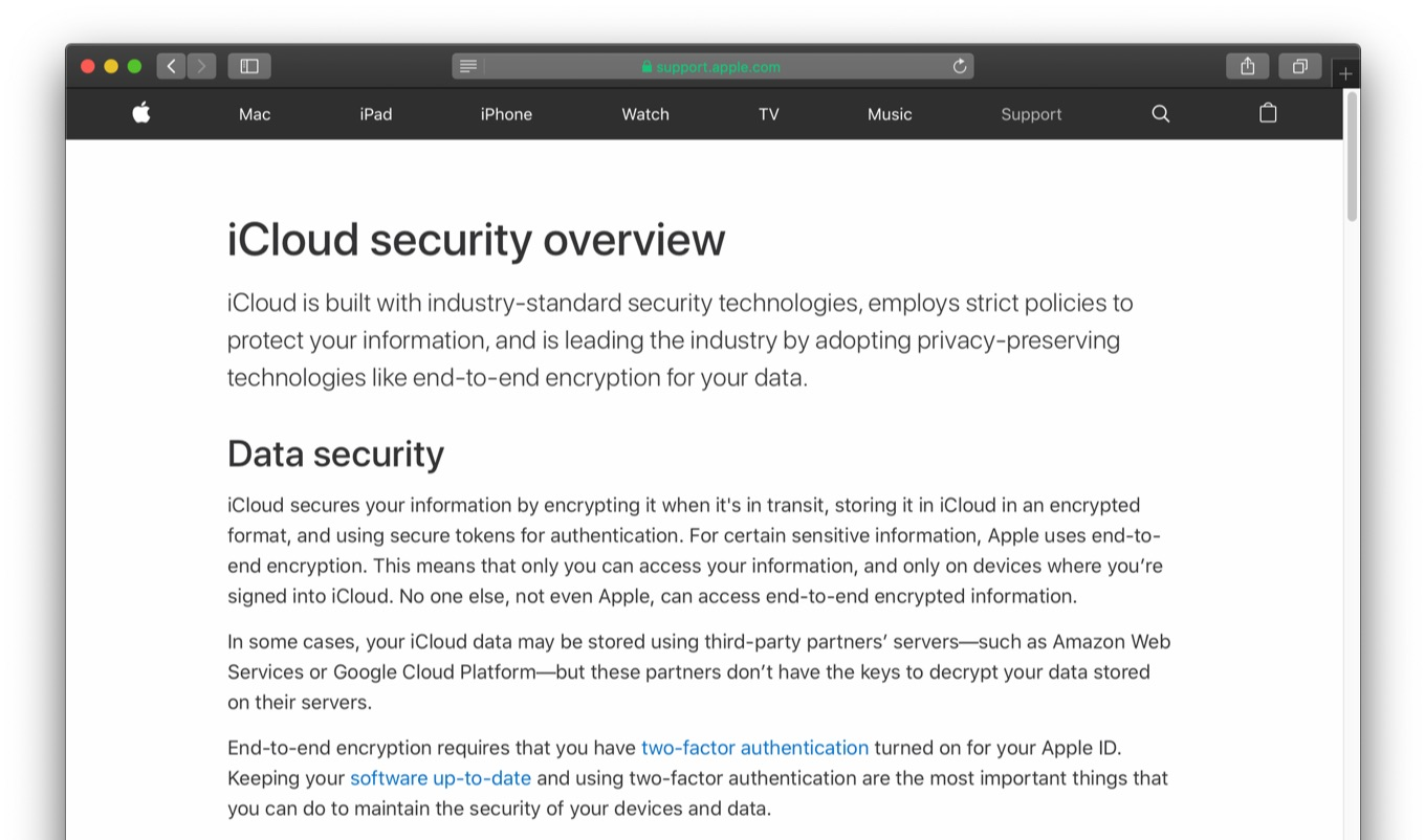iCloud security overview with AWS and GCP