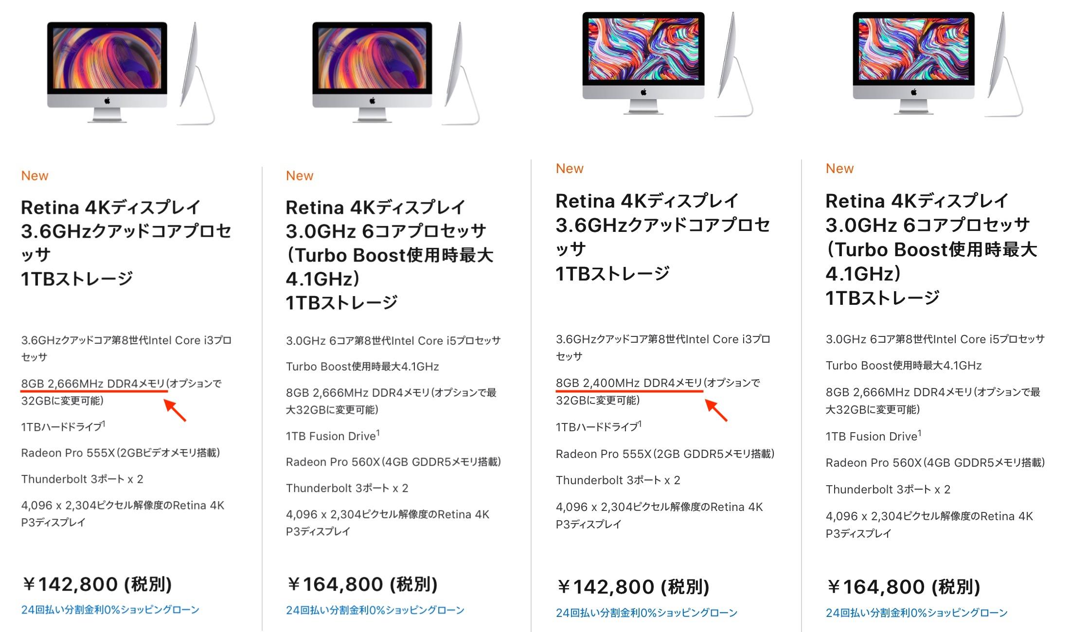iMac (Retina 4K, 21.5インチ, 2019) 仕様