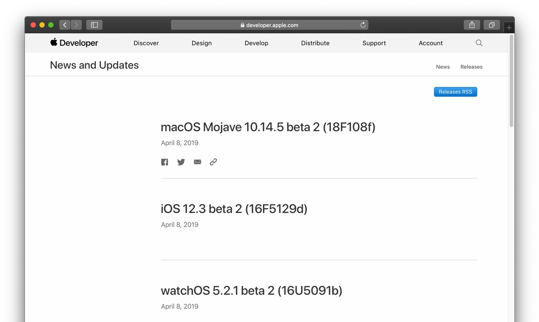 macOS Mojave 10.14.5 Beta 2 Build 18F108fアップデート