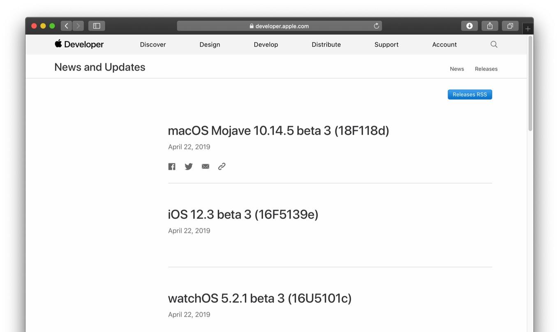 macOS Mojave 10.14.5 beta 3 (18F118d)  iOS 12.3 beta 3 (16F5139e)