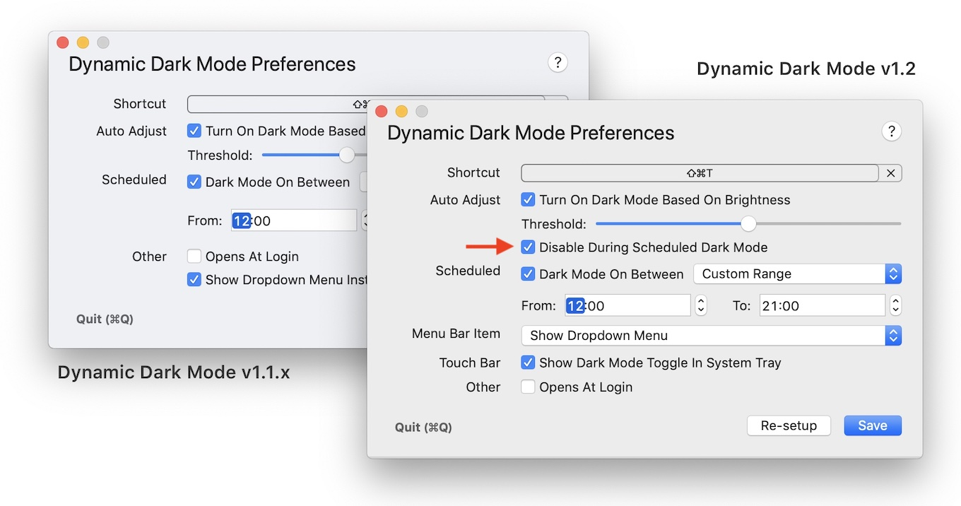 Dynamic Dark Mode disable during scheduled