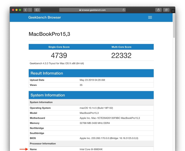 i9-9980HKを搭載したMacBook Pro (2019)