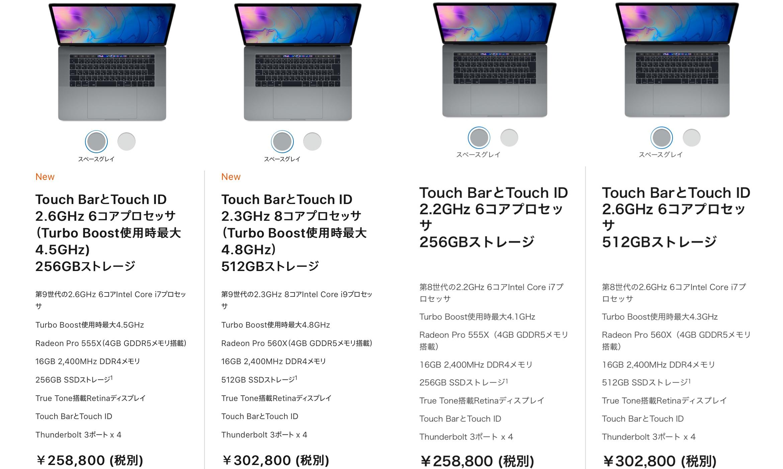 MacBook Pro (15-inch, 2018/2019)の価格とスペック