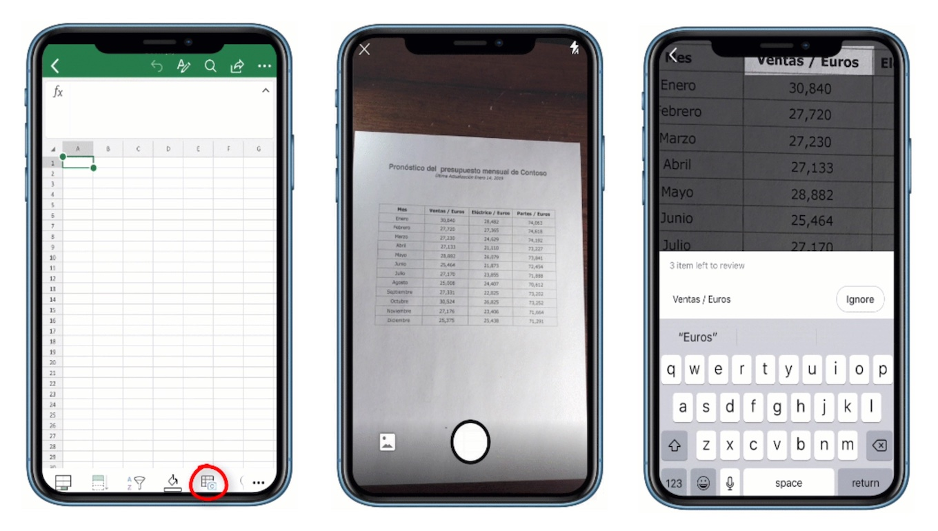 Microsoft Excel for iOSのInsert Data from Picture