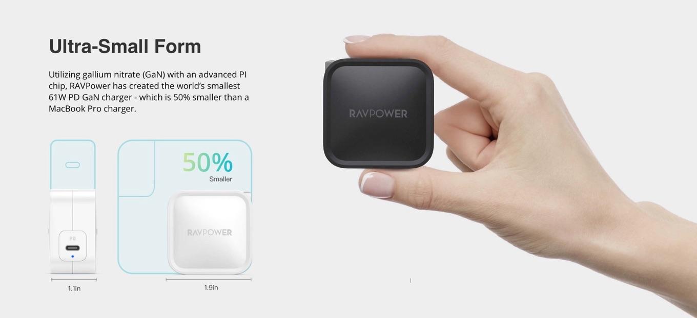 RAVPower 61W GaN Wall Chargerのサイズ