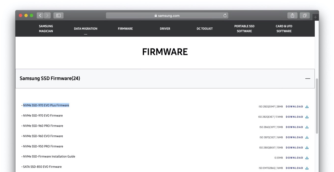 Samsung SSD 500GB 970 EVO Plus firmware update