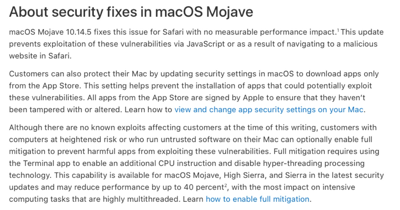 macOS MojaveでのZombieLoad Attackの修正