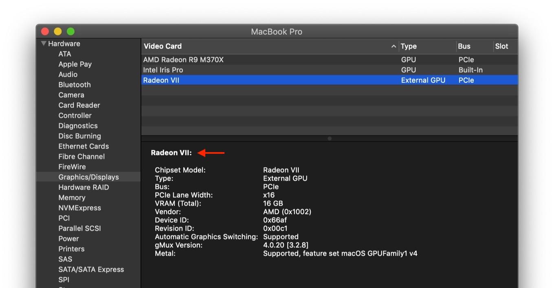 第2世代VegaアーキテクチャのGPU「Radeon VII」を接続したMac