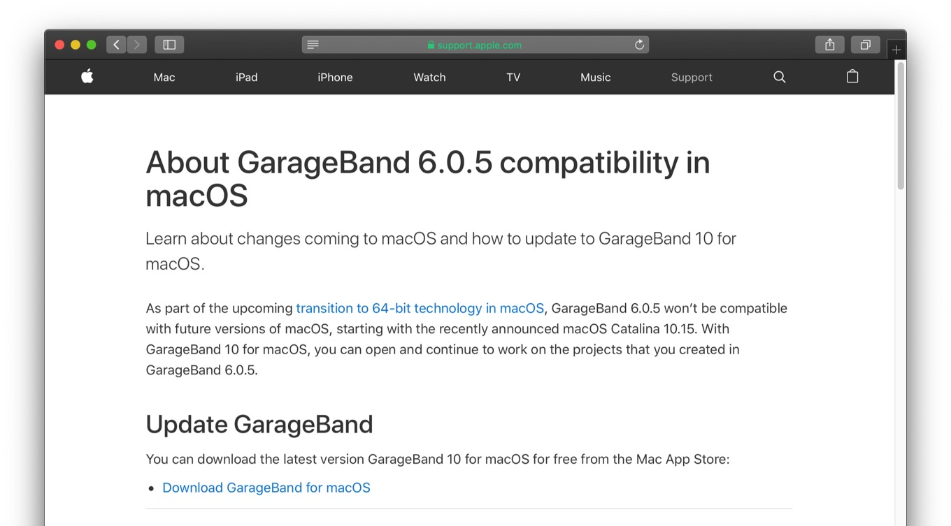 About GarageBand 6.0.5 compatibility in macOS