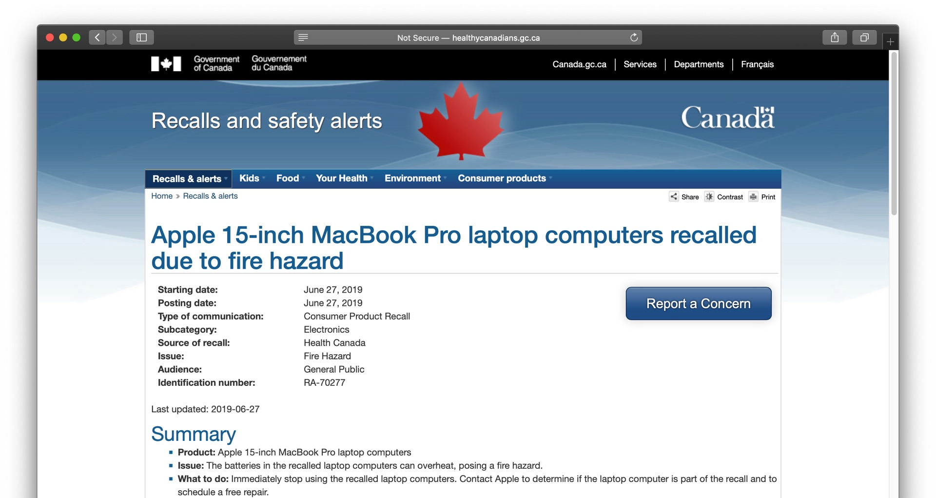 Apple 15-inch MacBook Pro laptop computers recalled due to fire hazard