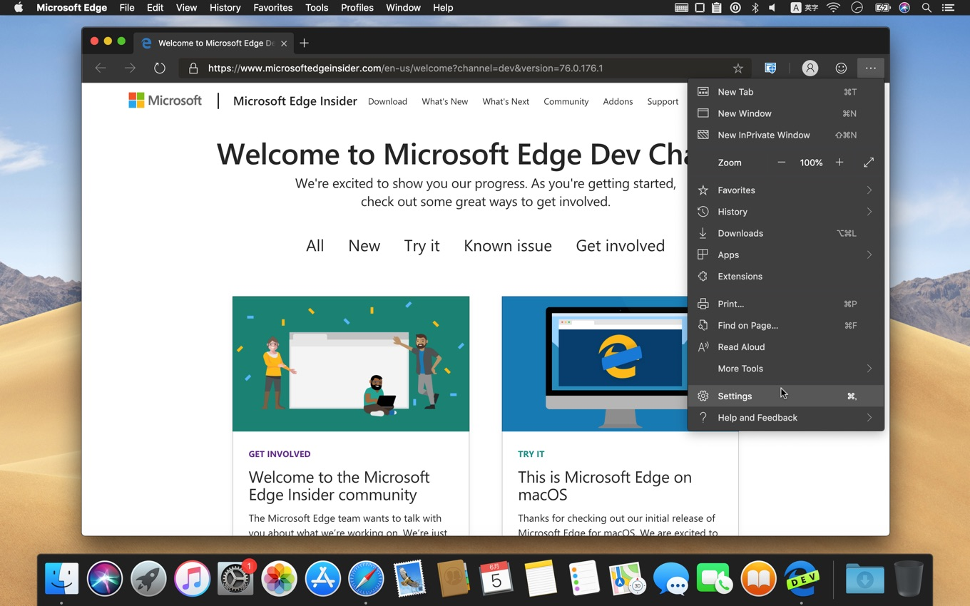 Microsoft Edge Insider for macOS Dev