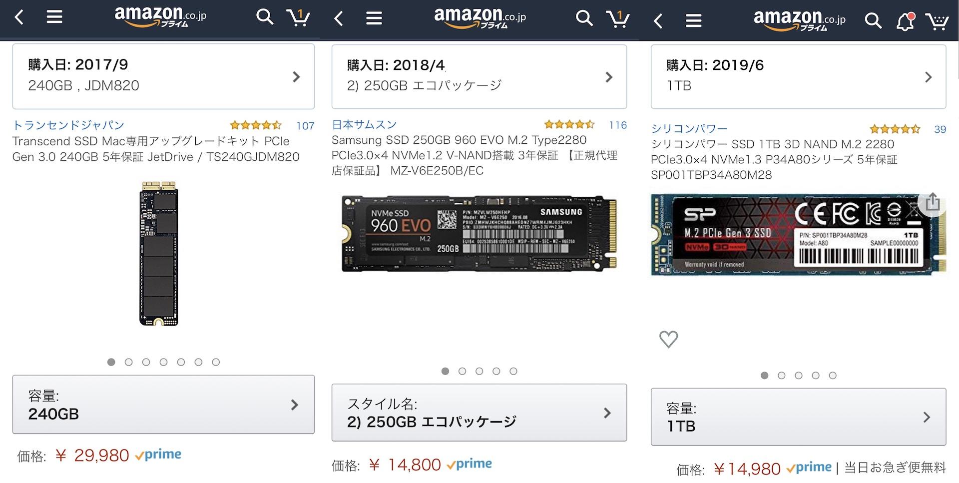 NVMe SSDの価格