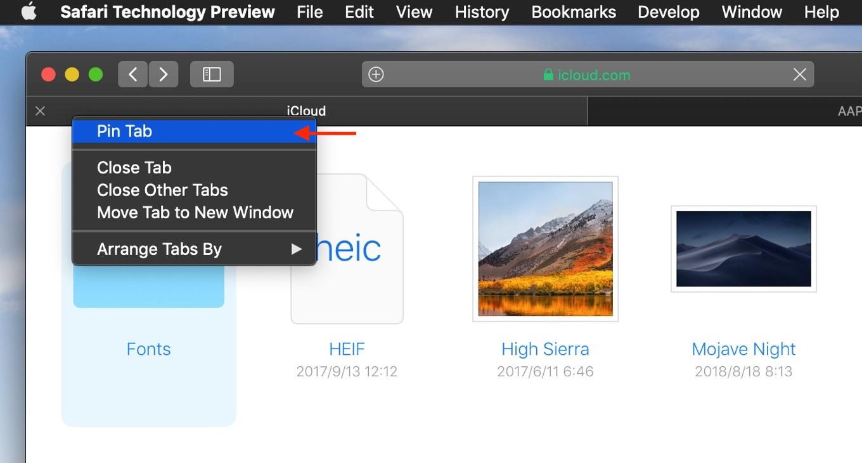 iCloud DriveのPin機能