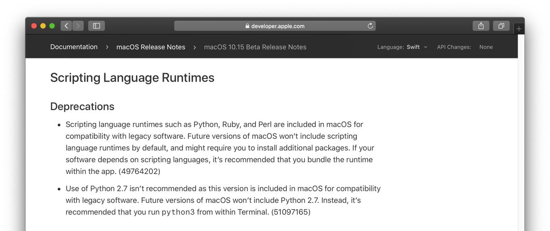 macOS 10.15 Catalinaのスクリプト言語