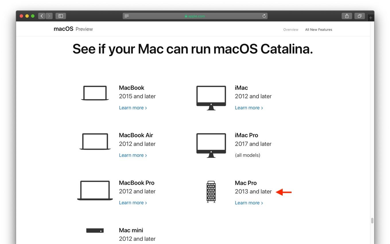 macOS 10.15 Catalinaのシステム要件