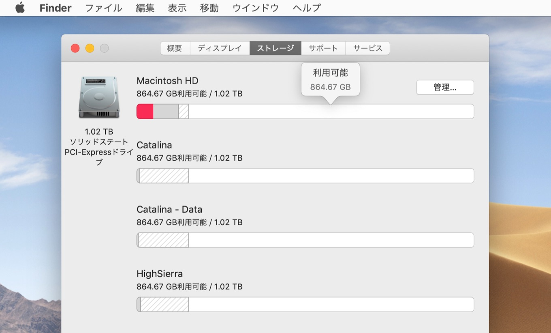 macOS 10.13 High SierraからmacOS 10.15 Catalinaまでを1TB NVMe SSDにインストールする
