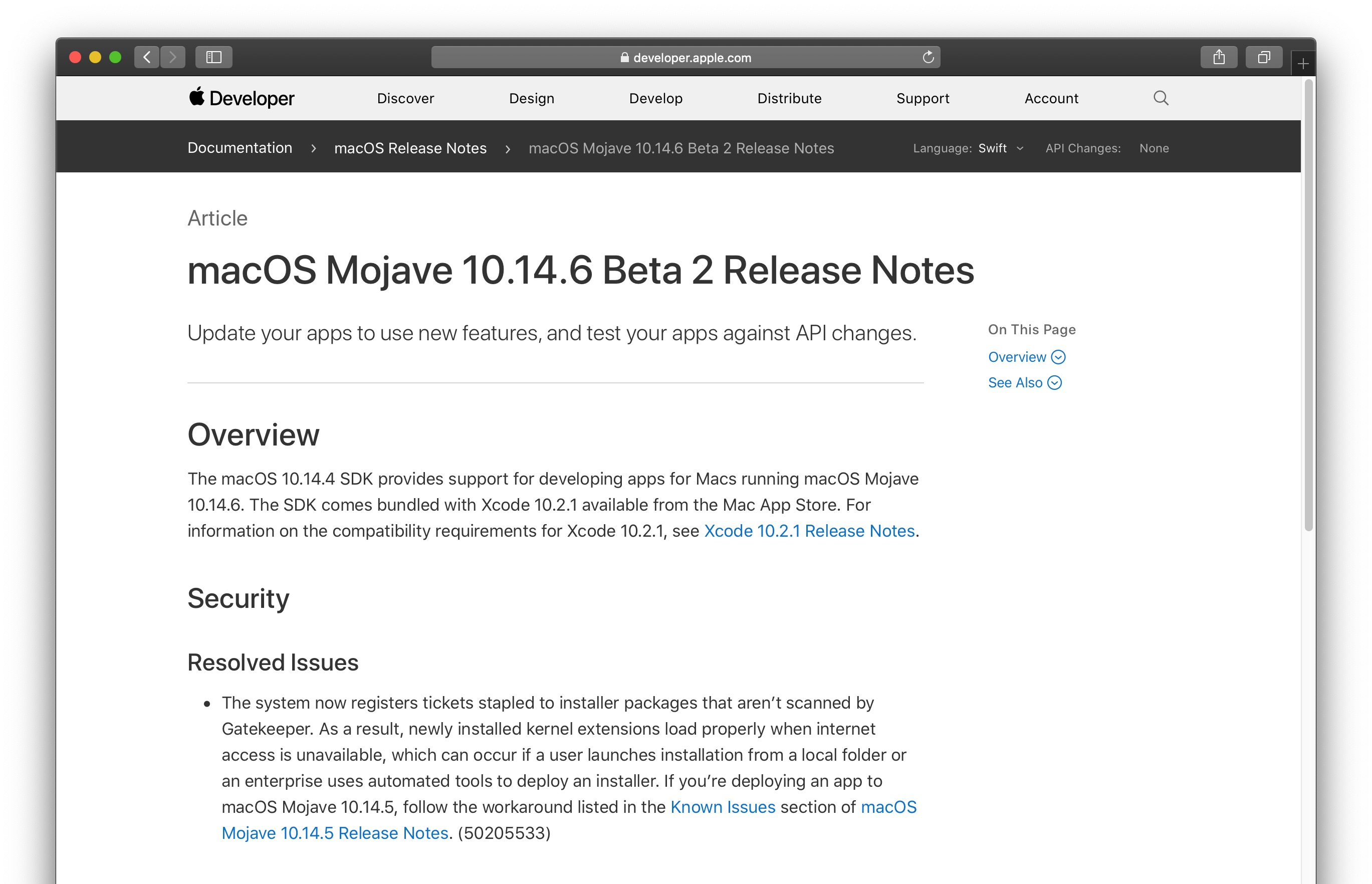 macOS Mojave 10.14.6 Beta 2 Release Notes