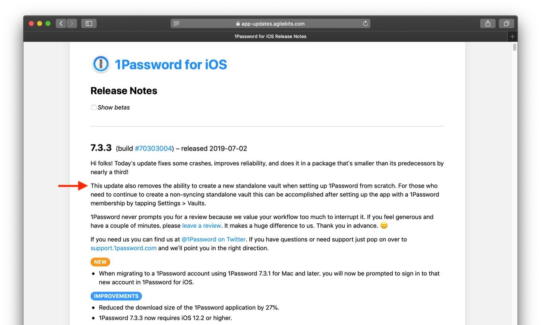 1Password for iOS v7.3.3のリリースノート