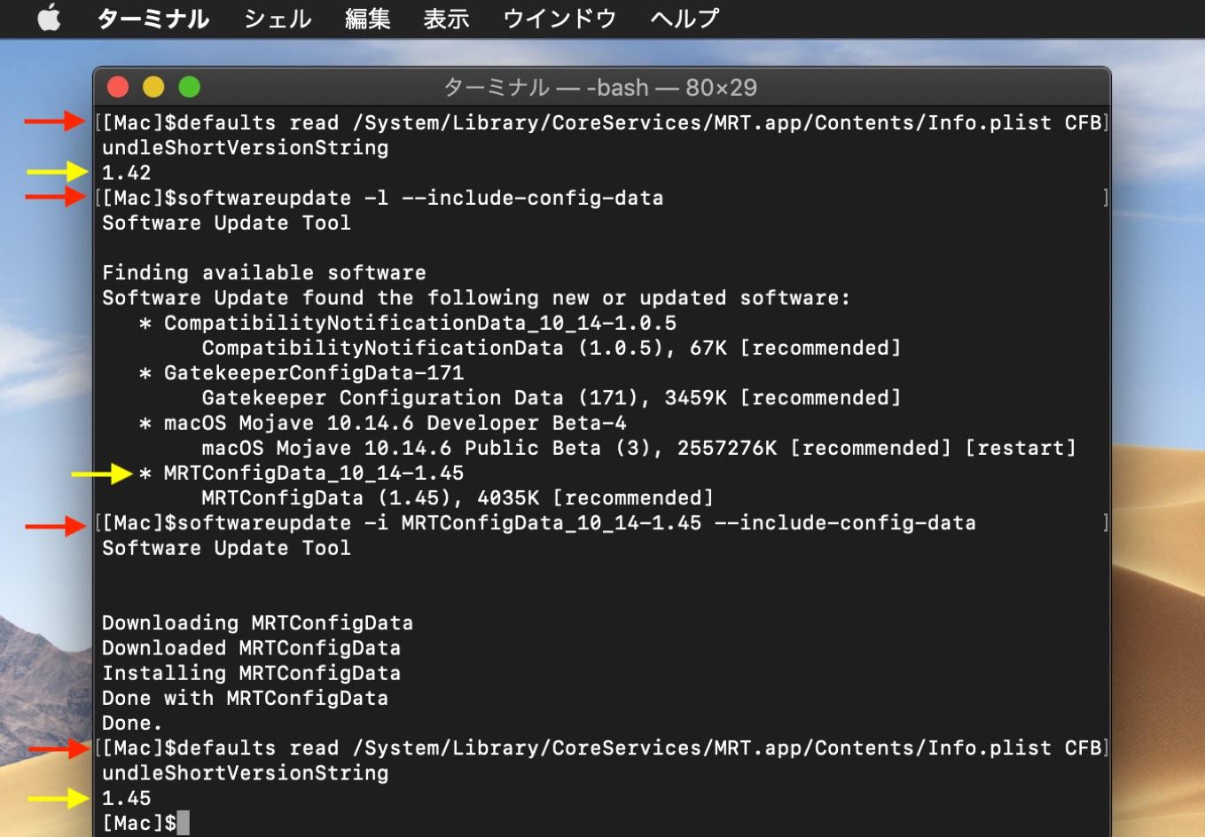softwareupdate MRTConfigData v1.45