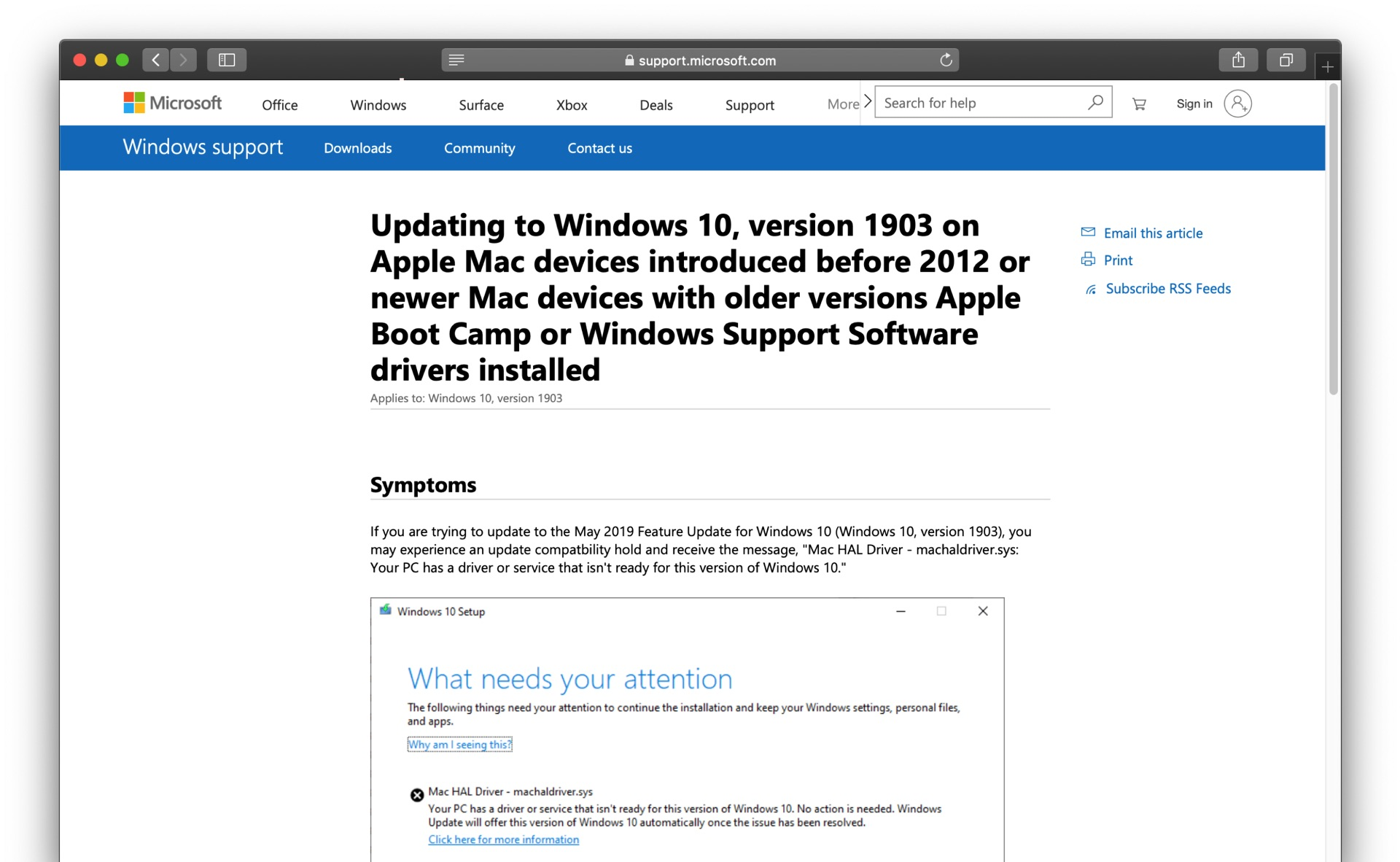 Windows 10 version 1903 and before 2012 Mac issue
