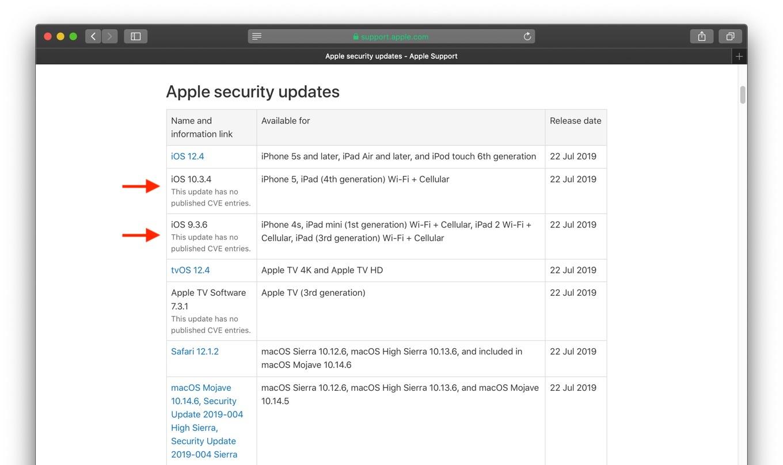 iOS 1034 and iOS 935