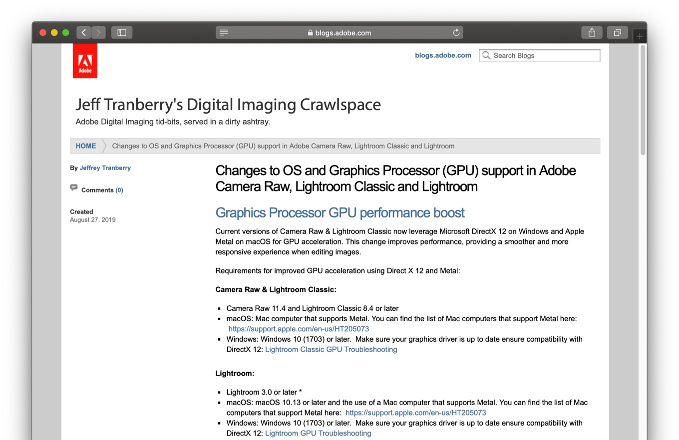 Changes to OS and Graphics Processor in Adobe Lightroom
