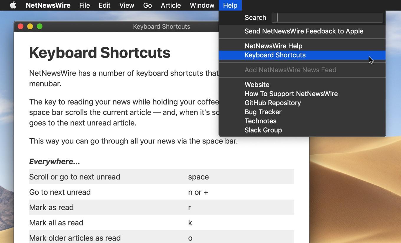 NetNewsWire v5.0のショートカット
