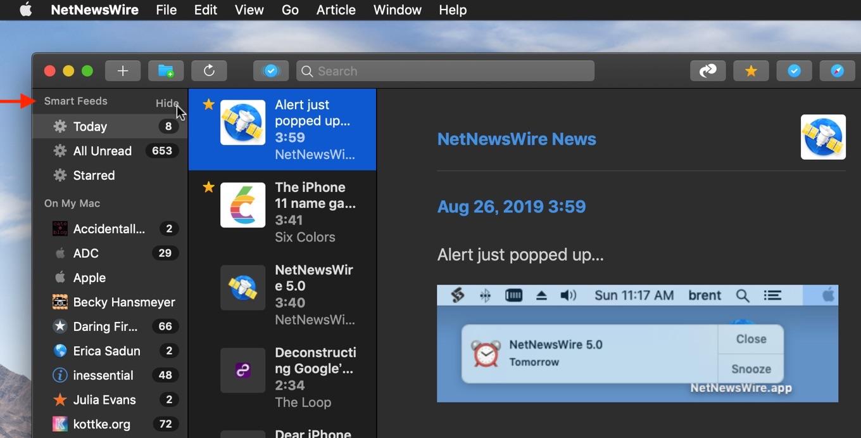 NetNewsWire v5.0のSmart Feeds